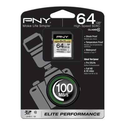 PNY 64GB SDXC Flashgeheugen - Zwart