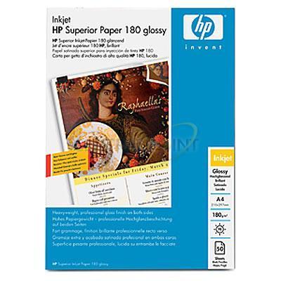 Hp papier: Superior inkjetpapier, glanzend, 50 vel, A4/210 x 297 mm - Wit