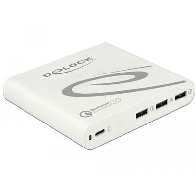 DeLOCK 3 x USB Type-A, 1 x USB Type-C, 100 - 240 V, 50/60 Hz, 1.5 A, white Oplader - Wit