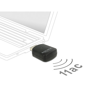 DeLOCK USB 3.0 Dual Band WLAN ac/a/b/g/n Mini Stick 867 Mbps Netwerkkaart - Zwart