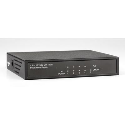 ROLINE PoE Fast Ethernet Switch, 5 Ports (4x PoE) PoE adapter