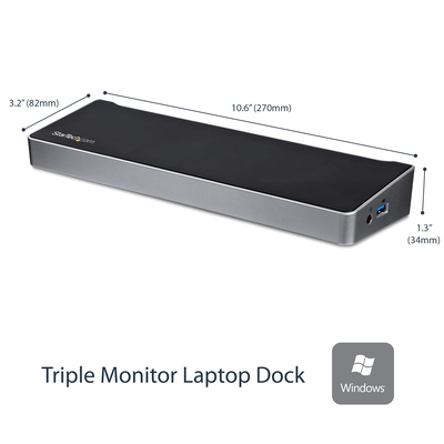 StarTech.com Triple monitor voor laptops Mac & Windows USB 3.0 dock USB snellaadpoort 4K Docking station - .....