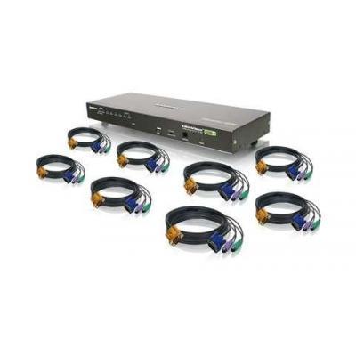 Iogear 8-Port USB PS/2 Combo VGA with PS/2 KVM Cables KVM switch