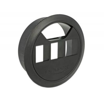 Delock : Keystone Mounting, 3 Port, in-desk, 60 mm, black - Zwart