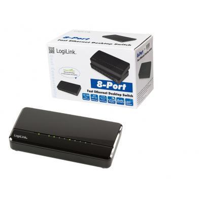 LogiLink 8 x RJ-45, Fast Ethernet, Desktop Switch - Zwart