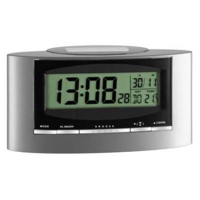"Tfa wekker: ""SOLAR"" Radio controlled alarm clock - Zwart, Zilver"