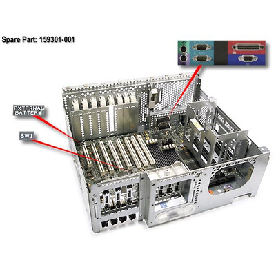 HP Motherboard (system I/O board) with tray, chassis, and processor cage - Does not include processor Moederbord