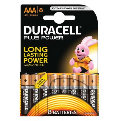 Duracell batterij: Plus Power alkaline AAA-batterijen, verpakking van 8 - Zwart, Goud