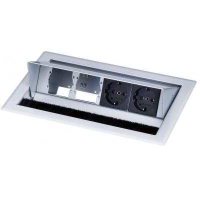 Kindermann Desktop Casing for 4 Insets, 2 x mains socket Inbouweenheid - Zwart, Roestvrijstaal