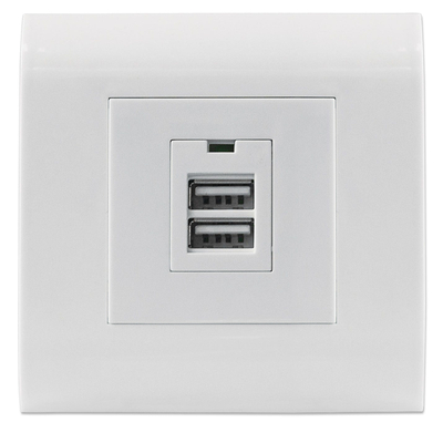 Intellinet 2-Port USB-A Wall Outlet with Faceplate, Two Charging Ports, 5 V / 2.1 A Output, 80 x 80 European .....