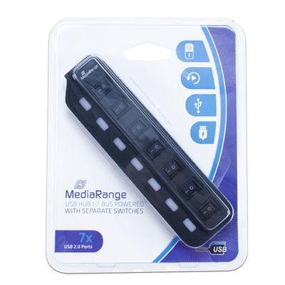 Mediarange hub: USB 2.0 Hub 1:7 with seperate switches, bus powered - Zwart