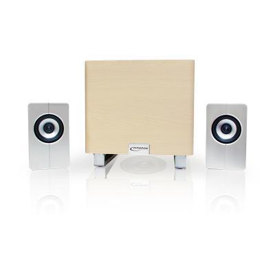 """Typhoon luidspreker set: 2.1 Stereo Speaker with Subwoofer, 38 W, 13.335 cm (5.25 """") , 220 mV, 40 Hz - Grijs, Hout"""
