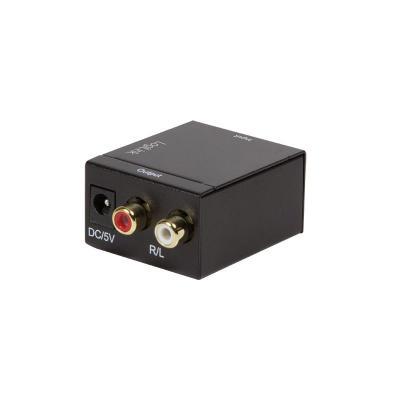 Logilink audio converter: 24bit, 1x Toslink, 1x Cinch (coaxial), 2x Cinch (L/R audio) - Zwart