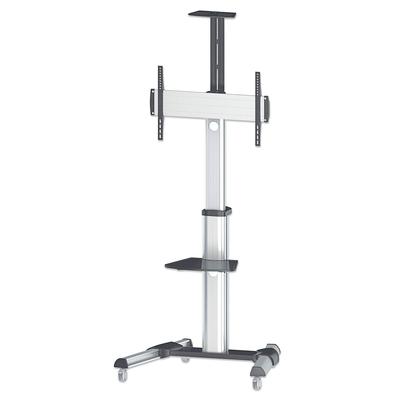 "Manhattan Mobile Monitor Floor Stand, 1 screen, 37-70"", Vesa 200x200 to 600x400mm, Max 50kg, Silver Monitorarm ....."