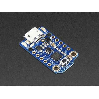 Adafruit : Mini Microcontroller, 3.3V, MicroUSB, ATtiny85, 512 SRAM, 512 EEPROM, 27x15x4 mm - Blauw