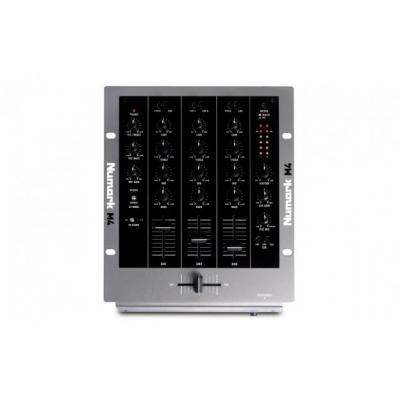 Numark dj mixer: 3-Channel Scratch Mixer, 2 x Phono/Line In, 4 x Line-In, Mic In, 3-Band EQ, LED - Zwart, Grijs