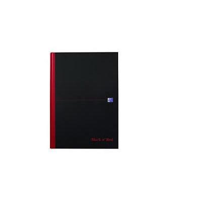 Oxford A4, 5mm squares, Casebound, 192 pages, black schrijfblok - Zwart, Rood