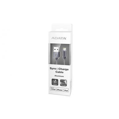 Adata USB kabel: 1m, USB 2.0-A/Lightning - Titanium