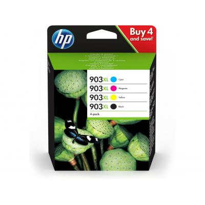 Hp inktcartridge: 903XL 4-pack High Yield Black/Cyan/Magenta/Yellow - Zwart, Cyaan, Magenta, Geel