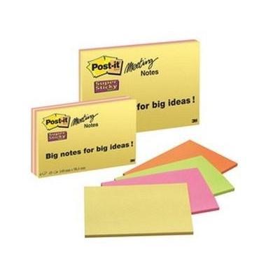 3m zelfklevend notitiepapier: 149x98.4mm, 4x Block, 45 Sheets/Block - Groen, Oranje, Roze, Geel