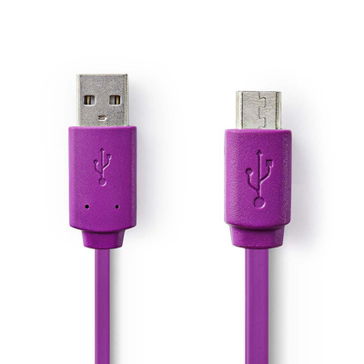 Nedis USB 2.0 Cable, A Male - Micro B Male, 1.0 m, Violet USB kabel - Paars