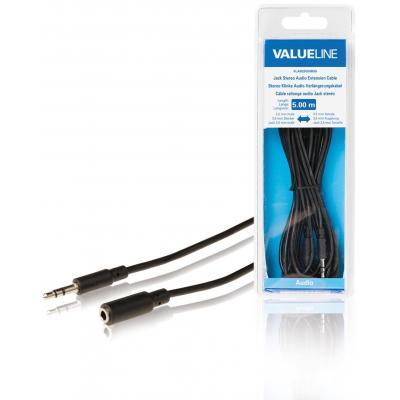 Valueline Jack stereo audio verlengkabel 3.5 mm mannelijk - 3.5 mm vrouwelijk 5.00 m zwart