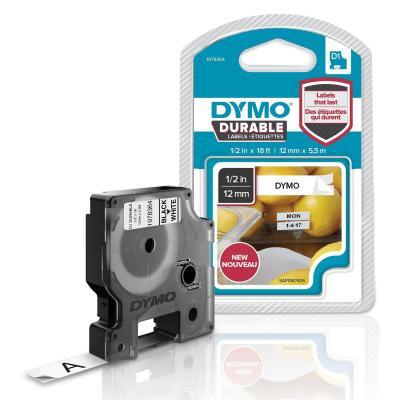 Dymo etiket: DURABLE 12mm Black On White D1 Tape - Veelkleurig