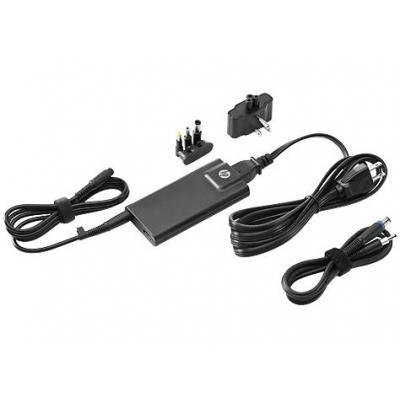 Hp netvoeding: 65W Slim w/ USB AC Adapter - Zwart