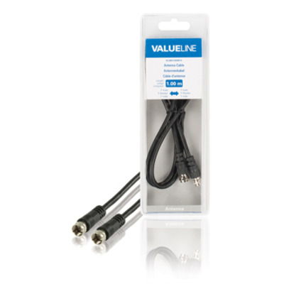 Valueline F/F, 1m Coax kabel - Zwart