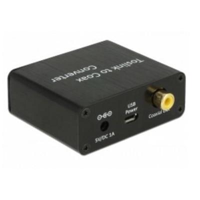 Delock audio converter: Converter Audio TOSLINK - Coaxial - Zwart