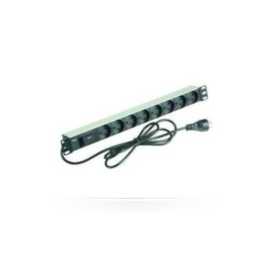 "Microconnect 8-way Outlet strip, 19"" 1U PDU Energiedistributie - Zwart,Zilver"