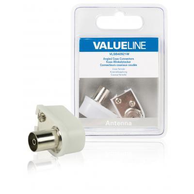 Valueline coaxconnector: Gehoekte coax connectoren, coax vrouwelijk, wit