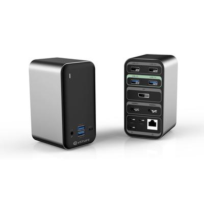 ESTUFF USB-C Pro Dual USB-C Dock Hub - Aluminium,Zwart