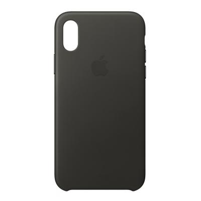 Apple mobile phone case: Leren hoesje voor iPhone X - Houtskoolgrijs - Kolen, Grijs