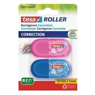 Tesa film/tape correctie: Mini Correctie Roller ecoLogo - Blauw, Roze