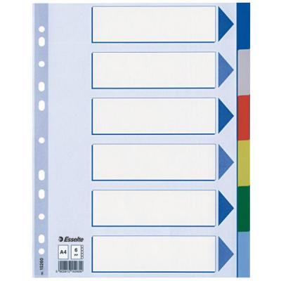 Esselte schutkaart: Multi-coloured Plastic Dividers - Multi kleuren