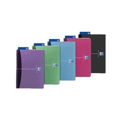 Elba schrijfblok: OXFORD Office Urban Mix spiraalblok A4, geruit 5 mm (verpakking 5 stuks) - Blauw, Groen, Grijs, Roze, .....
