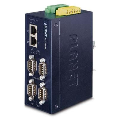 Planet 4 x DB9 male, S232/RS422, RS485, 50bps to 921Kbps, RTS/CTS, 10/100BASE-TX, 100m, IP40 metal Seriele server .....