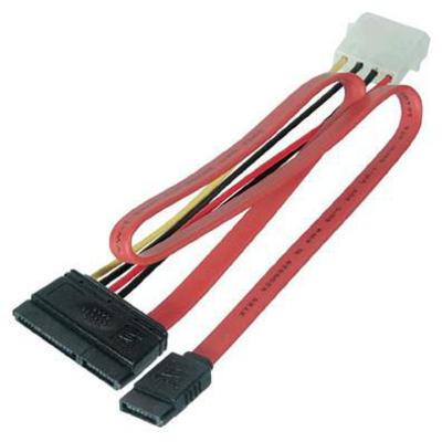 Microconnect SATA 15+7pin/4+7pin - Multi kleuren, Rood