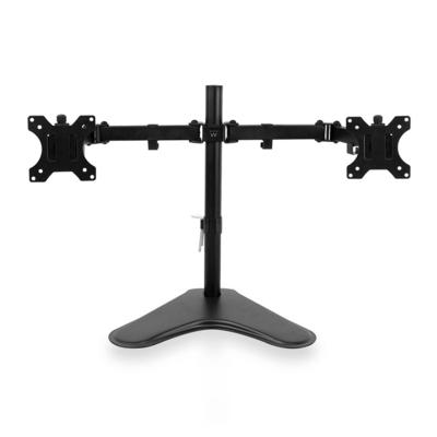 Ewent Bureausteun op voet voor 2 monitoren tot en met 32 inch met VESA Monitorarm - Zwart