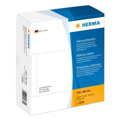 Herma adreslabel: Address labels for typewriters individual 130x80 mm white paper matt 500 pcs. - Wit