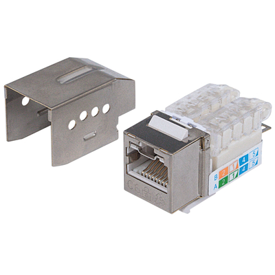 Intellinet Keystone Jack, Cat6A, FTP, Toolless, Locking Function, Metallic - Roestvrijstaal