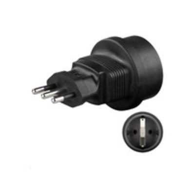 Microconnect stekker-adapter: Universal adapter Italy/Schuko - Zwart