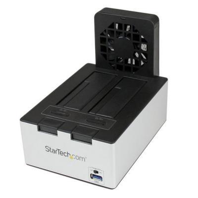 Startech.com HDD/SDD docking station: USB 3.0 dubbele SATA harde-schijf docking station met geïntegreerde USB-hub voor .....