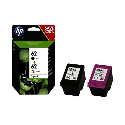 Hp inktcartridge: 62 2-pack Black/Tri-color Original Ink Cartridges - Zwart, Cyaan, Magenta, Geel