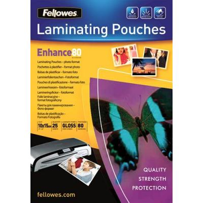 Fellowes laminatorhoes: 80 micron foto lamineerhoes glanzend - 10x15cm - Transparant