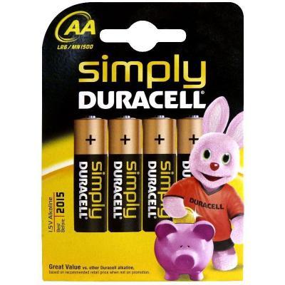 Duracell batterij: Simply AA 4 Pack - Zwart