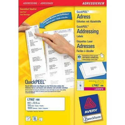 Avery adreslabel: QuickPEEL Adresetiketten, Laser/Inkjet/Kleurenlaser, Wit, 1600pcs.