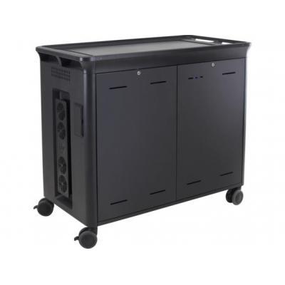 Hp multimedia kar & stand: 30 Mgd Charging Cart V2 - Zwart