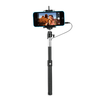 Behello : Selfie Stick Wired Black - Zwart